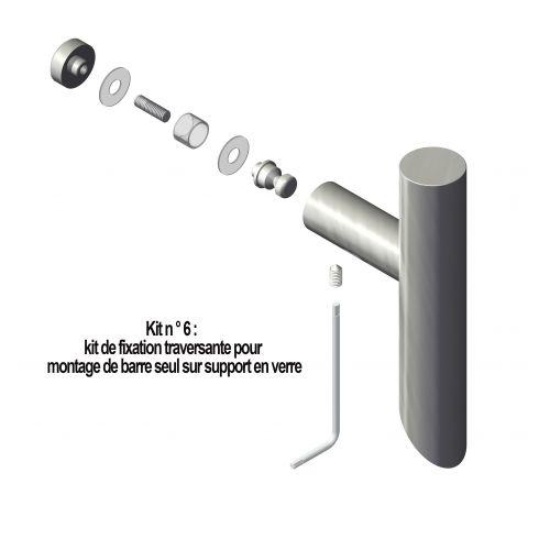 Kit n° 6: fixation simple traversante pour montage sur verre