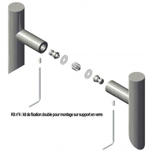 N°4 : Kit de fixation double pour montage sur verre