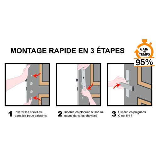 Montage en 3 étapes, poignée de porte MONTAGE RAPIDE