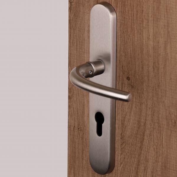 Poignée Vega pour porte d'entrée extérieure à réhausse sur plaque à vis non apparentes en laiton Nickel Mat, entraxe 195 mm