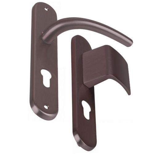 Angle 4 : Palière réversible pour porte d'entrée, poignée pour porte intérieur laiton Nickel Mat