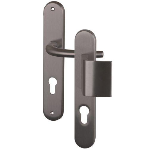 Angle 1 : Palière réversible pour porte d'entrée, poignée pour porte intérieur laiton Nickel Mat