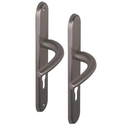 Angle 5 : ensemble de poignées vega pour porte d'entrée, 1 côté à vis non apparentes et 1 côte à vis apparentes