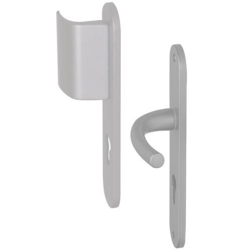 Angle 6 : 1 côté palière réversible sur plaque modèle Zenia Aluminium anodisé  F1 Argent, 1 côté pour porte intérieur
