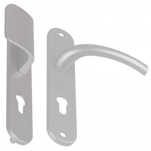 Angle 4 : 1 côté palière réversible sur plaque modèle Zenia Aluminium anodisé  F1 Argent, 1 côté pour porte intérieur
