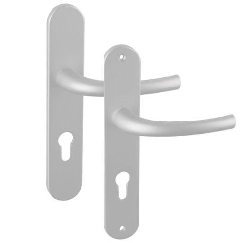 Angle 2 : ensemble zenia argent pour porte d'entrée, côté extérieur vis non apparentes, côté intérieur vis non apparentes