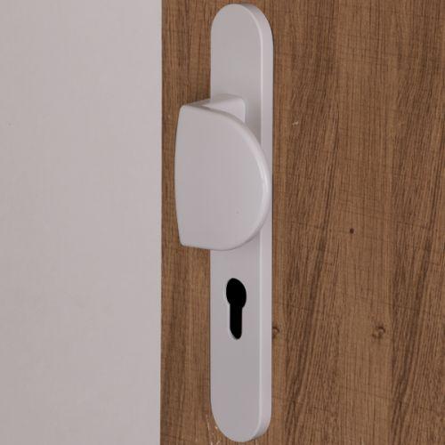 Poignée palière sur plaque ronde à vis non apparentes blanc RAL 9016 pour porte d'entrée , Pianosa