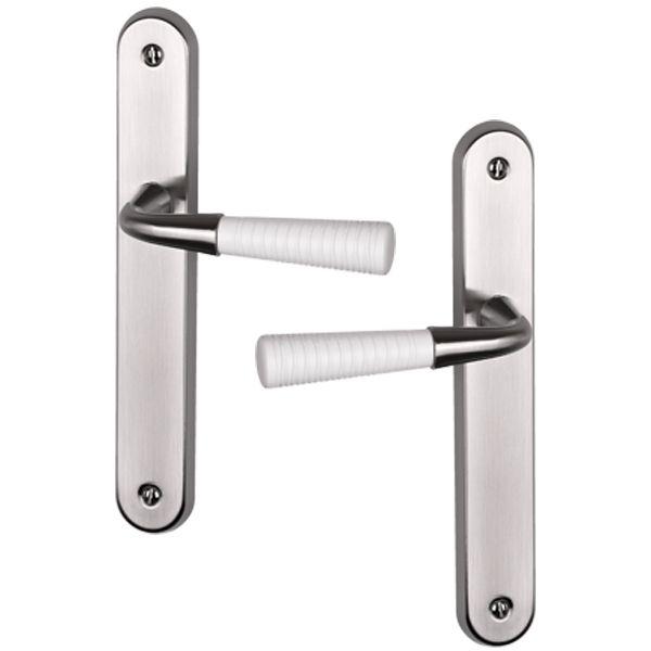 Poignée de porte intérieure moderne en aluminium  à poignée blanche modèle Calli fonction bdc
