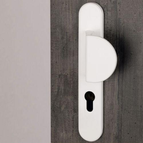 Palière réversible sur plaque ronde à vis non apparentes pour porte d'entrée extérieure Blanc RAL 9016, BALTIC