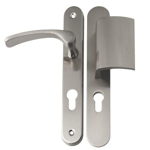 Angle 1: Poignée de porte d'entrée extérieure + intérieur sur plaque ronde en Aluminium Nickel Mat