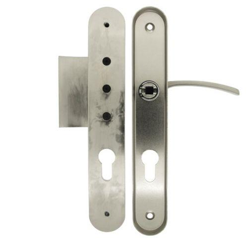 Angle 2: Poignée de porte d'entrée extérieure + intérieur sur plaque ronde en Aluminium Nickel Mat