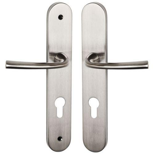 Ensemble de poignées Magali Nickel Mat pour porte d'entrée, côté extérieur à vis non apparentes, côté intérieur à vis apparentes