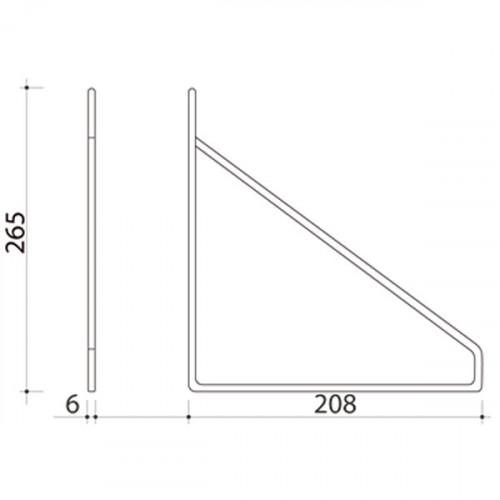 Schéma équerre Fil Acier pour tablette 190 mm