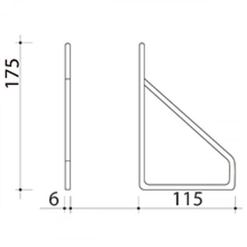 Schéma équerre fil pour tablette de profondeur 190 mm
