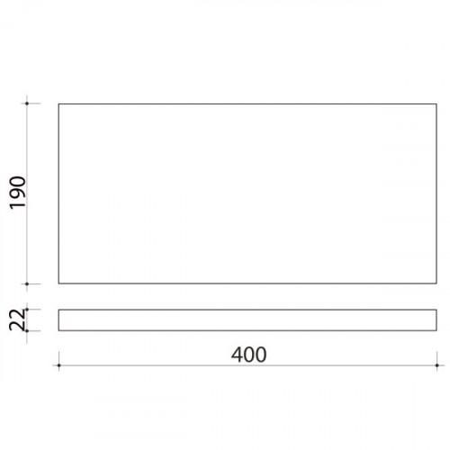 Schéma tablette en chêne massif ( standard ) 400 x 190 mm