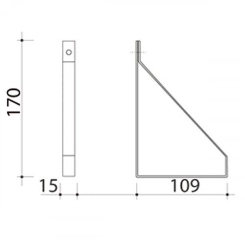 Schéma équerre méplat pour tablette 100 mm