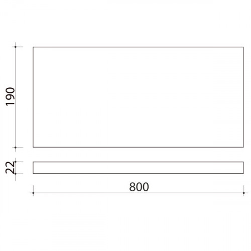 Schéma tablette en chêne massif ( standard ) 800 x 190 mm
