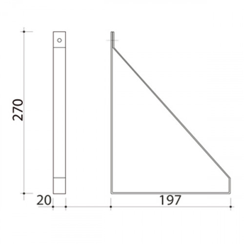 Schéma équerre méplat pour tablette 190 mm