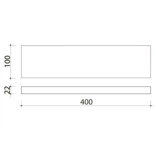 Schéma tablette en bois de peuplier 400 mm x 100 mm
