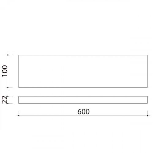 Schéma tablette en bois de peuplier 600 mm x 100 mm