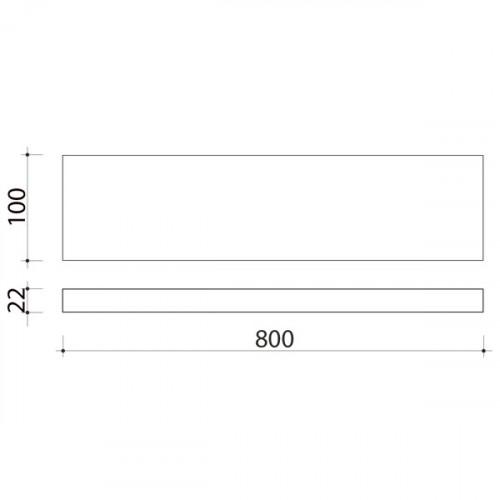 Schéma tablette en bois de peuplier 800 mm x 100 mm