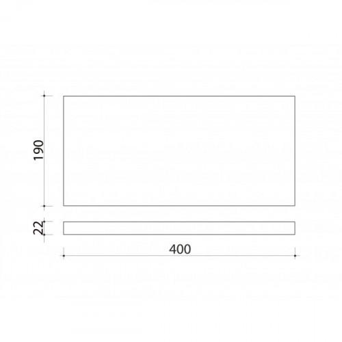 Schéma tablette en bois de peuplier 400 mm x 190 mm