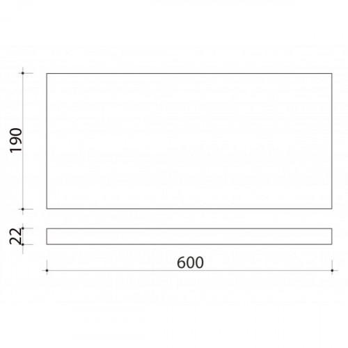 Schéma tablette en bois de peuplier 600 mm x 190 mm
