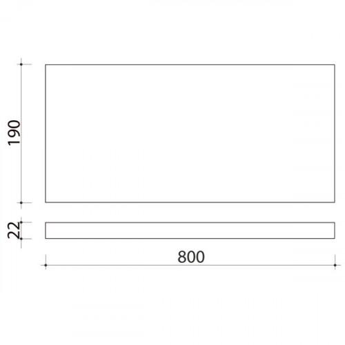 Schéma tablette en bois de peuplier 800 mm x 190 mm
