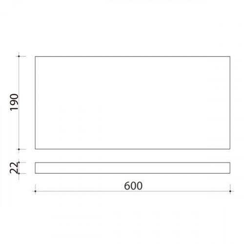Schéma tablette en chêne massif ( standard ) 600 x 190 mm