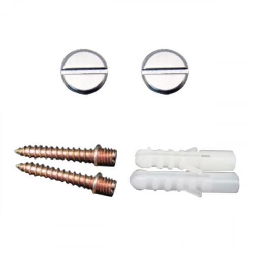 2 crochets fixes cache-vis pour fixation de sangles. Finition chrome brillant. Cheville + Vis 30xM5 mm.